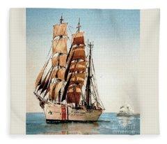 Us Coastguard Tall Ship Fleece Blanket