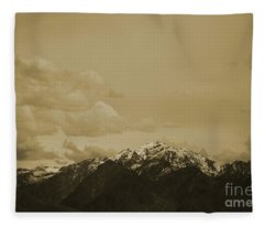 Utah Mountain In Sepia Fleece Blanket