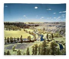 Valley In Hidden Palouse Fleece Blanket