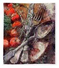 Vegetable In Wooden Plate Fleece Blanket