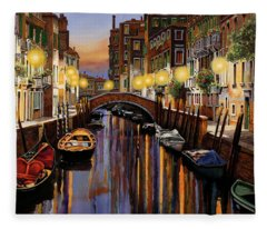 Venice At Dusk Fleece Blanket