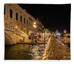 Venice At Night. San Marco Fleece Blanket