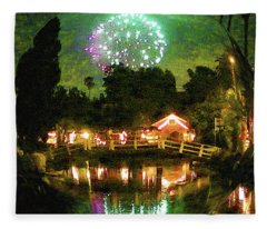 Venice California Fireworks Fleece Blanket