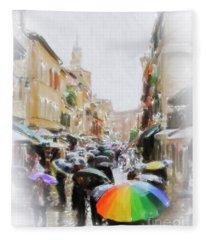 Venice In The Rain Fleece Blanket