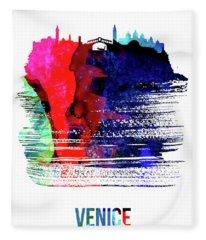 Venice Skyline Brush Stroke Watercolor   Fleece Blanket