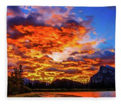 Vermillion Lakes, Banff National Park, Alberta, Canada Fleece Blanket