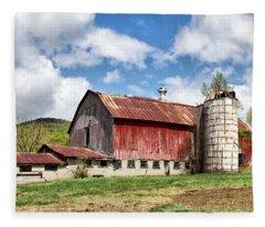 Vermont Barn And Silo  Fleece Blanket