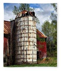 Vermont Farmhouse Silo  Fleece Blanket