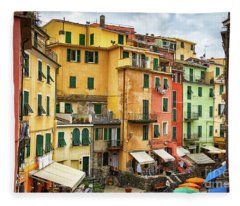 Vernazza Cinque Terre Strolling Into Town Fleece Blanket