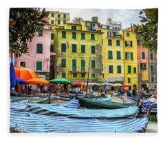 Vernazza Cinque Terre Town Center Boats Fleece Blanket