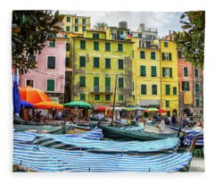 Vernazza Cinque Terre Town Center Boats Fleece Blanket