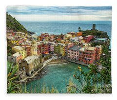 Vernazza Cinque Terre View From The North Fleece Blanket