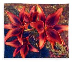 Vibrant Red Lilies Fleece Blanket