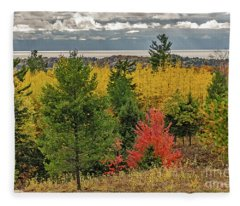 Vibrant Shades Of Red, Green, And Yellow Leaves Fleece Blanket