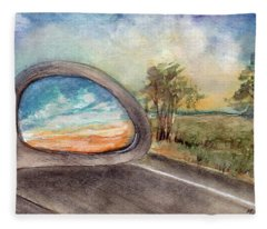 View From The Car Window At Sunset Fleece Blanket