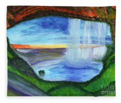 View From The Cave To The Waterfall Fleece Blanket