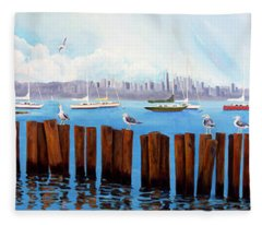 View From The Moshier's Tiki Bar Fleece Blanket