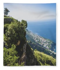 View Of Amalfi Italy From Path Of The Gods Fleece Blanket