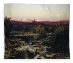 View Of The Escorial And The Sierra De Guadarrama Fleece Blanket