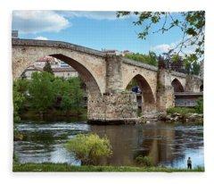 View Of The Roman Bridge And The Minho River Fleece Blanket