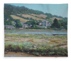 Village Of Axmouth On The River Axe Fleece Blanket