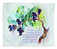 Vine And Branch With Scripture Fleece Blanket