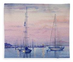 Vineyard Twilight Watercolor Fleece Blanket