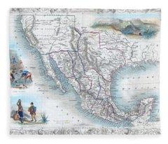 Vingage Map Of Texas, California And Mexico Fleece Blanket