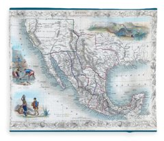 Vingage Map Of Texas, California And Mexico Fleece Blanket