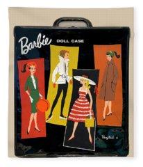 Vintage Barbie Doll Case Fleece Blanket