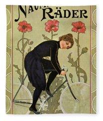 Vintage Bicycle Advertisement Woman Cycling Circa 1905 Fleece Blanket