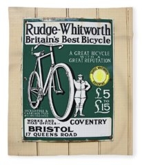 Vintage Bicycle Advertisment Fleece Blanket