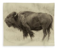 Vintage Bison I Fleece Blanket