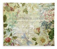 Vintage Botanical Illustration Collage Fleece Blanket