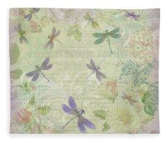Vintage Botanical Illustrations And Dragonflies Fleece Blanket