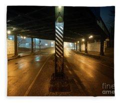Vintage Chicago Bridge At Night Fleece Blanket
