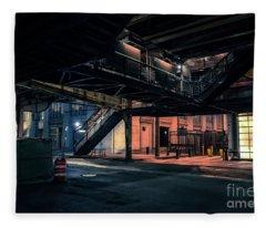 Vintage Chicago L Station At Night Fleece Blanket
