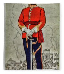 Vintage Cigarette Card Indore State Forces Fleece Blanket