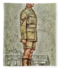 Vintage Cigarette Card Kimberley Regiment Fleece Blanket