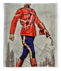 Vintage Cigarette Card Royal Canadian Mounted Police Fleece Blanket