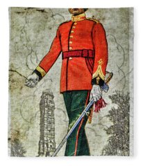 Vintage Cigarette Card Udaipur Mewar State Forces Fleece Blanket