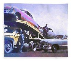 Vintage Ford Car Carrier Fleece Blanket