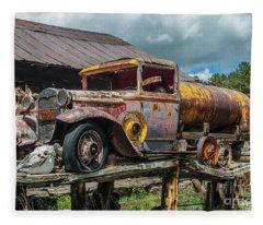 Vintage Ford Tanker Fleece Blanket