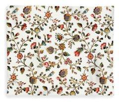 Vintage French Provincial Country Floral Design Fleece Blanket
