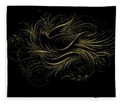 Vintage Gold Calligraphy Bird On Black Fleece Blanket