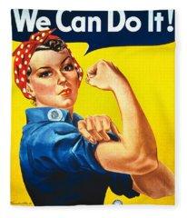 Vintage Image Of The Rosie The Riveter War Poster Fleece Blanket