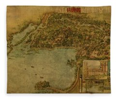 Vintage Map Of Beijing China Summer Palace 1954 Fleece Blanket