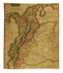 Vintage Map Of Columbia 1818 Fleece Blanket