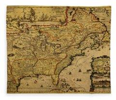 Vintage Map Of French America 1719 Fleece Blanket
