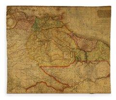 Vintage Map Of Guyana And Eastern South America 1818 Fleece Blanket